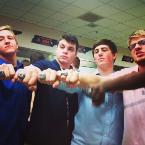 the beech bucs went 15-0 this year... these are some of quint's friends with their new bling.